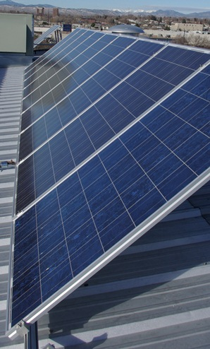 A row of High Quality Solar Modules is Pictured